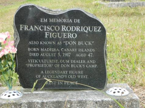 2015-06-02 Francisco Rodrigues Figueira or Don Buck was probably the epitome of Wild West Auckland. He is buried in Roman Catholic Division A Row 6 Plot 110