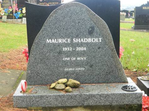 2015-06-12 The grave of author Maurice Shadbolt is in East Berm A, Row 2, Plot 106. One of Ben's is the name of his first autobiographical work