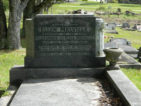 2015-08-02 Eliza Ellen Melville is buried at Waikumete Cemetery in Presbyterian Division D, Row 23, Plot 1. She died on July 27th 1946, aged 64